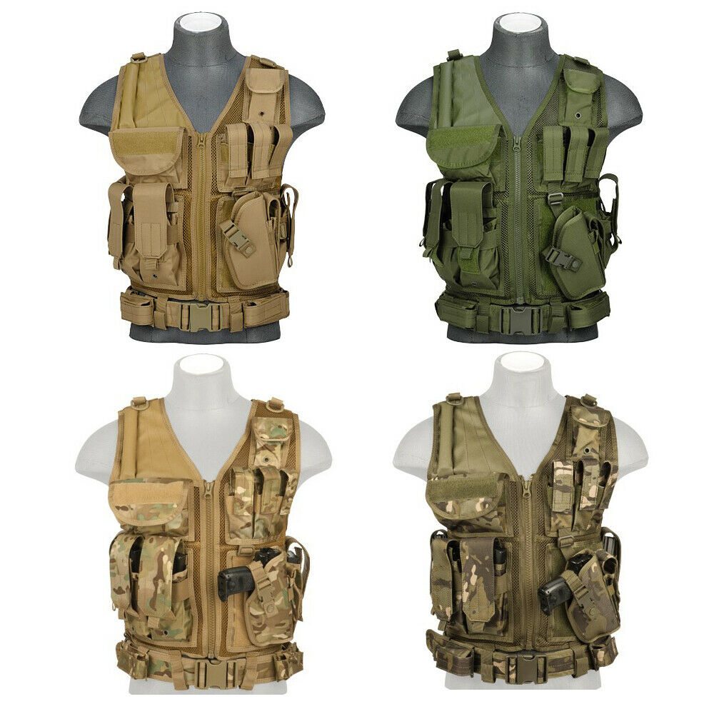 Lancer Tactical CA-310 Cross Draw Nylon Vest with Holster Fully Adjustable Rig