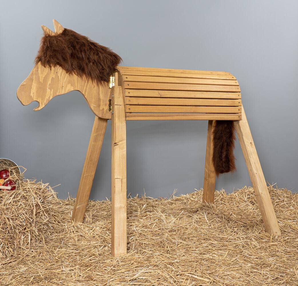 Holzpferd, Voltigierpferd, Pferd, bew.Kopf, ca.100 cm, Eiche hell