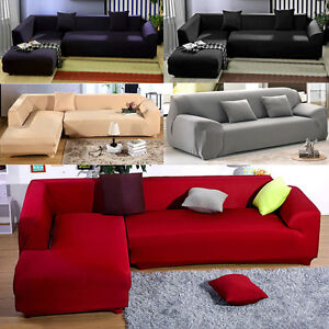 Details about L-Shape Sofa Stretch Sofa Slipcover Couch Pillow Cover 5 Pure  Color Removable SH