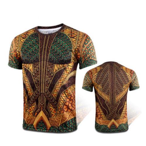 Cosplay 2018 Movie Aquaman T-Shirts New Superhero Arthur Curry 3D Men/'s T-Shirt