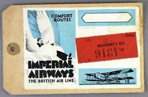 IMPERIAL-AIRWAYS-VINTAGE-USED-LONDON-AIRLINE-LUGGAGE-LABEL-BAGGAGE-BAG-TAG-IAL