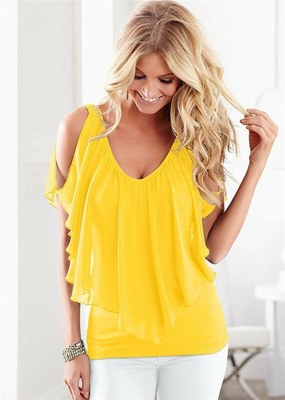 9508c3ba374e UK Womens Casual V Neck Off Shoulder Chiffon T-Shirt Ladies Summer Tops  Blouse