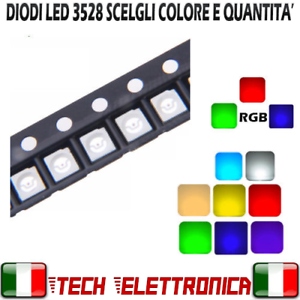 LED-3528-SMD-ALTA-LUMINOSITA-039-BIANCHI-BLU-ROSSO-VERDE-GIALLO-Diodi-PLCC