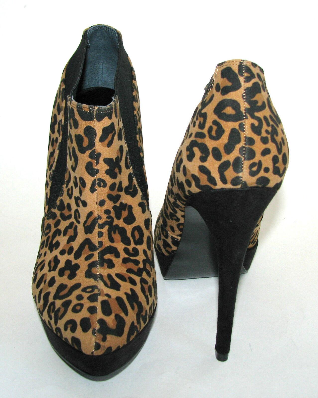 NEW GUESS HIGH ONA BROWN LEOPARD+BLACK PRINT HIGH GUESS HEEL Damenschuhe BOOTIE Schuhe SIZE 7.5-9 cdf30f