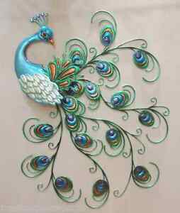 Image Is Loading Pretty Peacock Wall Decor Hanging Metal Sculpture Art