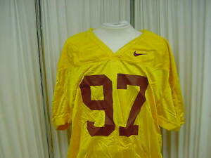 Authentic Yellow Nike Game/Practice Football Jersey Size- 3XL #97 Jock Tagging