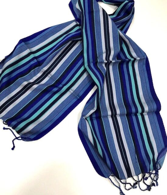 12a79614ec1b Paul Smith BRIGHT MULTISTRIPE SCARF BLUE 58%SILK 42% COTTON Length 140cm x  27cm
