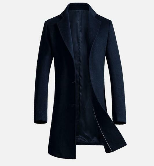 Mens Wool Cashmere Trench Coat Casual Business Peacoat Overcoat Winter Outwear