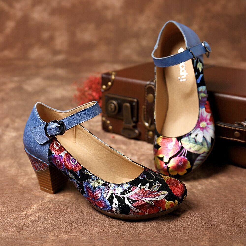 Socofy genuine leather ankle strap pumps