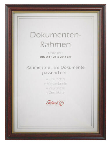 10 Dokument Bilderrahmen in Mahagoni 21x29,7 DIN A4 Urkunde Bilder Foto Rahmen