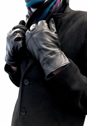 Mens Black Thinsulate Insulated Fleece Lined Winter Warm Thermal Leather Gloves