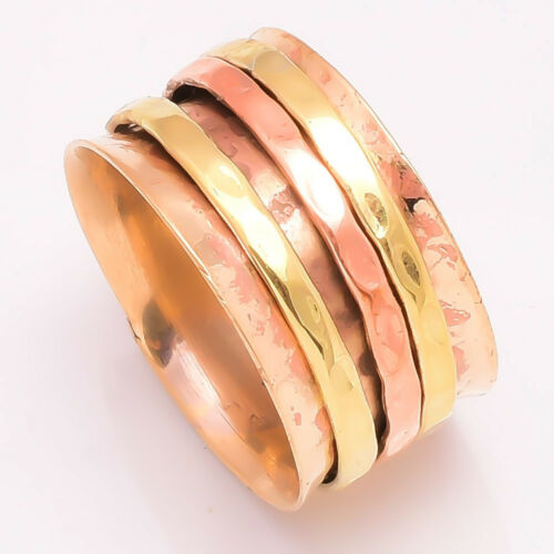 Solid Copper Band Brass Meditation Ring Spinner Ring Handmade Jewelry sq34