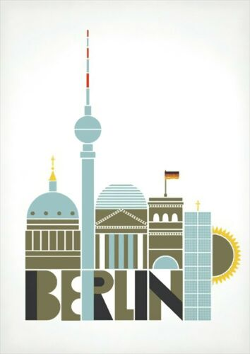 A3 A2 Berlin CityscapeVintage PosterA1