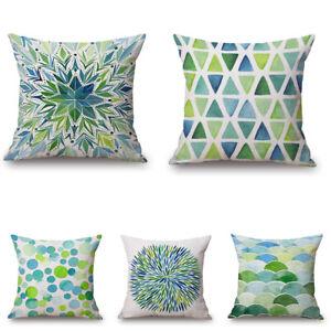 Simple Geometry 18inch Cotton Linen Pillow Case Waist Cushion Cover Home Decor