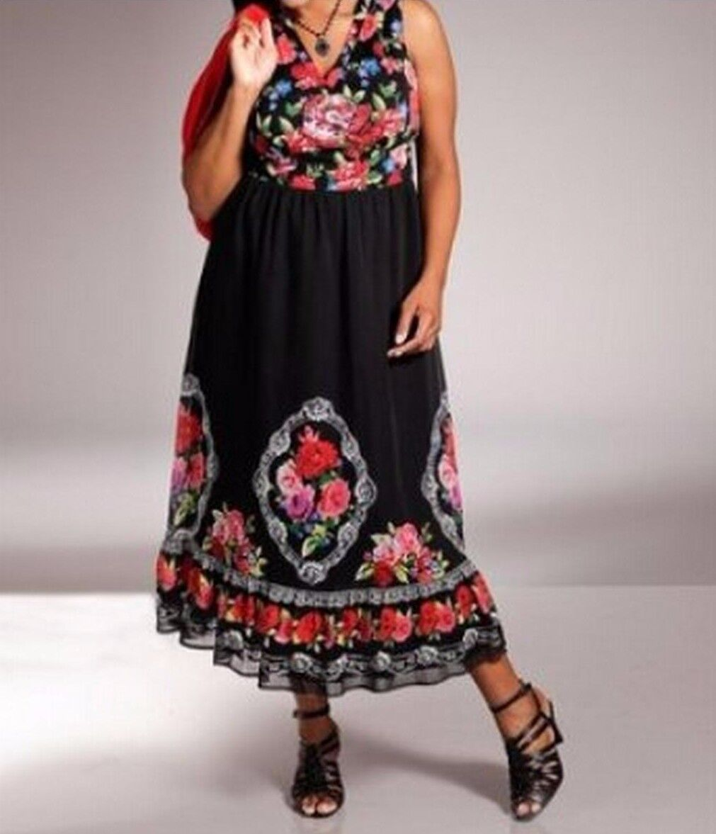 Sommerkleid Maxikleid Kleid M.I.M schwarz-bunt Gr. 44 NEU