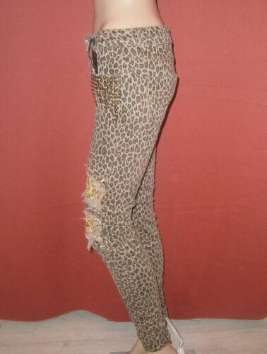 ORIGINAL Damen Stretch Jeans Skinny Röhre Nieten Fetzen Leo Pailletten /%/%/%