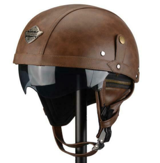 Couple Unisex Motorcycle Helmet Retro Leather Halfhelmets For Four Seasons Hot