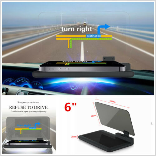 6 Screen Car GPS Navigation Holder HUD Head Up Display Projector Phone Bracket