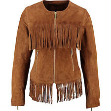 NEW Of the Realm brown suede fringe jacket UK10 RRP £199