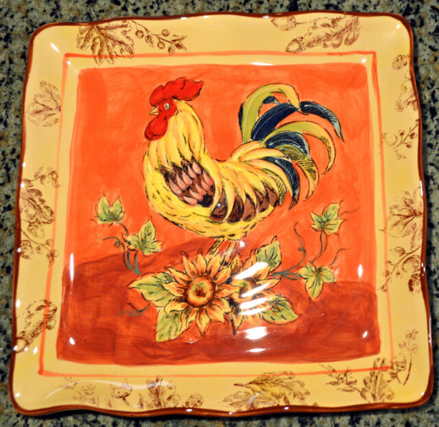 """ORANGE ROOSTER & Sunflowers 11"""" Square PLATE Pottery Majolica Dinner Serving NEW"""