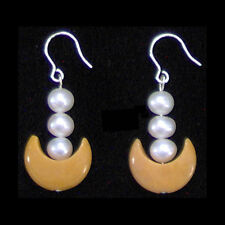 Sailor Moon Earrings 3 Pearls Yellow Jade Crescent
