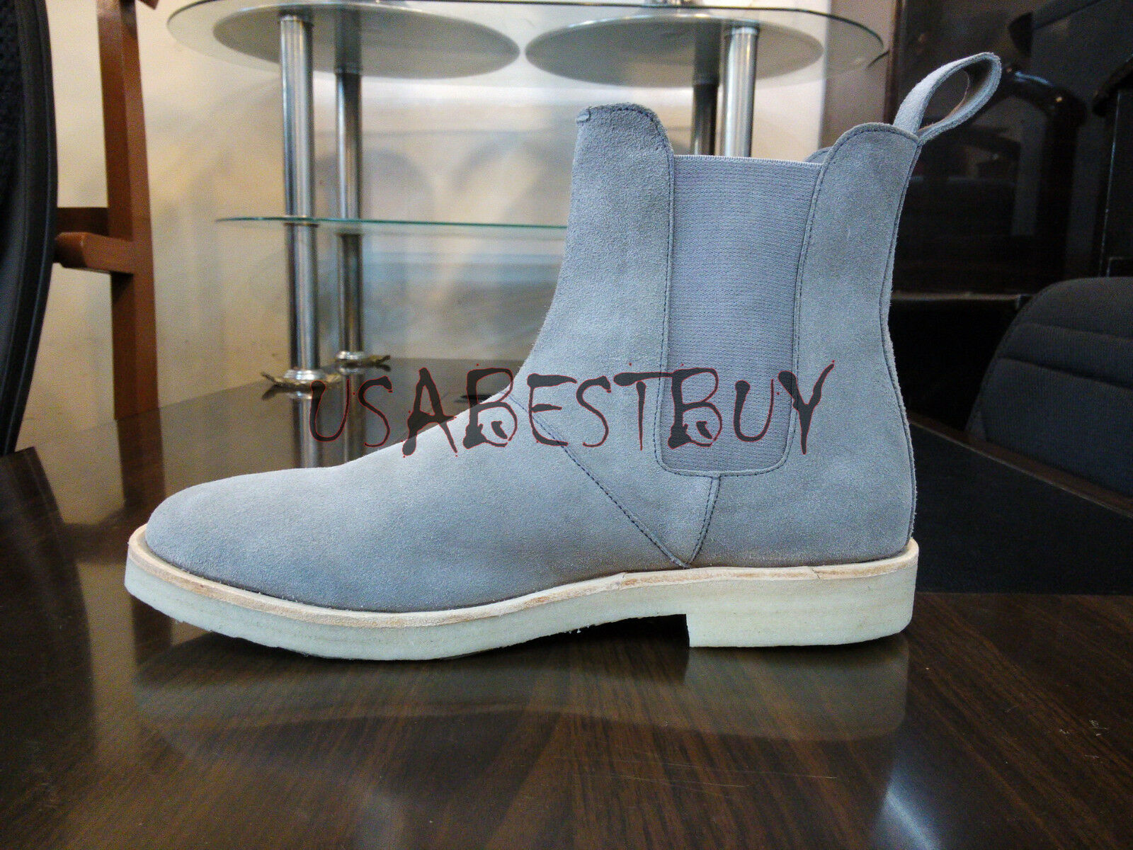 New Pure Handmade Uomo Grey Chelsea Suede Pelle Stivali with with with Thick Crepe Sole 8f159b