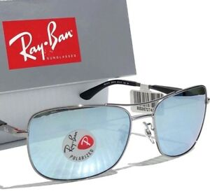 4abac57555 NEW  Ray Ban AVIATOR Squared Satin w POLARIZED Silver Sunglass RB ...