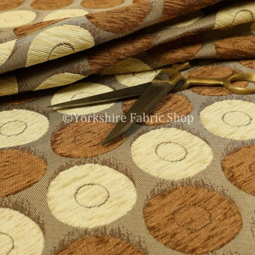 Circular Pattern Chenille Material Upholstery New Fabric Gold Beige Brown Colour