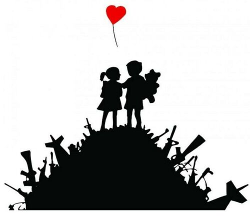 BANKSY GIRL /& HEART BALLOON cross stitch chart also available as A4 glossy print