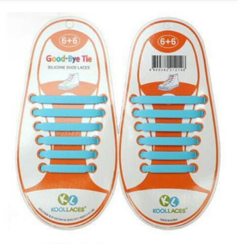 NEW 1 Set(12pcs)Kids No Tie Shoelaces Elastic Silicone Canvas Sneakers Shoe Lace
