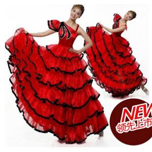 189db8c35 Women Spanish Flamenco Modern Dance Dress Mesh Layer Ballroom ...