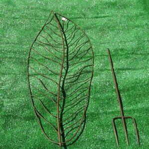 Leaf-Trellis-89-034-High-Set-of-4-Wrought-Iron-Rust-Finish