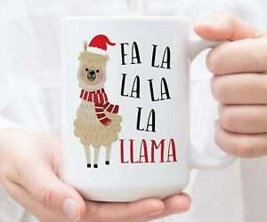 Taza-De-Cafe-Fa-La-La-La-La-Llama-Taza-Navidad-Vacaciones-Taza-Navidad-Regalo-Divertido