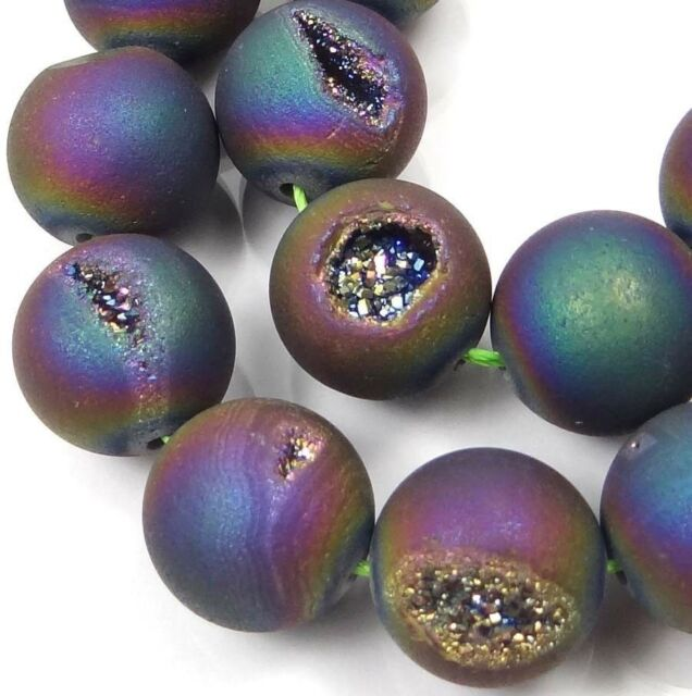 14mm Druzy Agate Matte Peacock Rainbow Round Beads (12 pcs)
