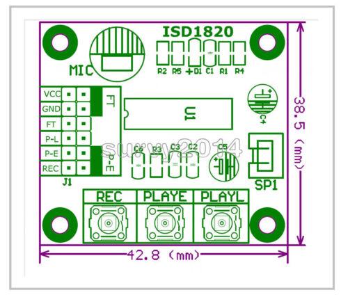 5PCS ISD1820 Sound Voice Recording Playback Module Mic Sound Audio microphone