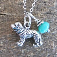 Saint Bernard Glass Bead Sterling Silver Necklace - Free Shipping
