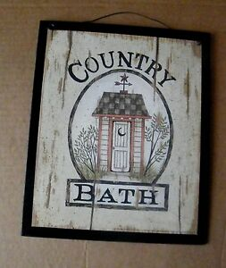 Primitive COUNTRY BATH Rustic Bathroom Outhouse Wall Art Decor Sign