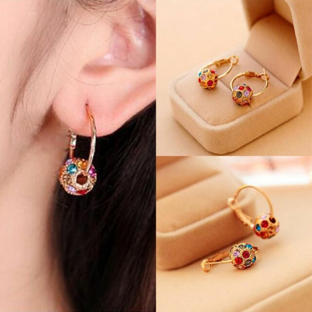 Chic Multicolor Crystal Ball Earrings Woman Parties Wedding Jewelry Earrings y
