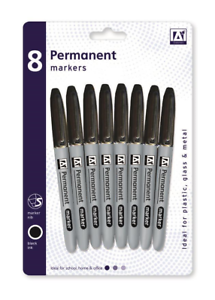 Black Permanent Marker Pens 8pk Ideal for Plastic Glass Metal Buy More For Less