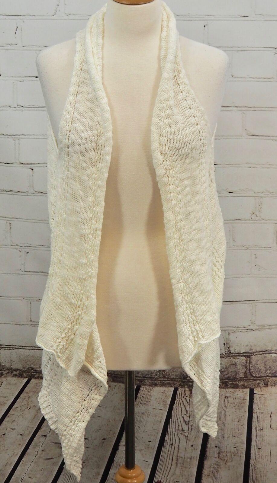 Soma Intimates Lounge Coordinates Crochet Sweater Vest Ivory Open Wrap Cardi S M