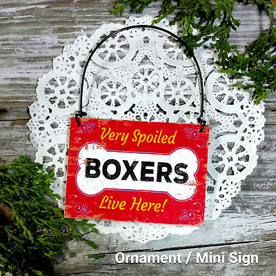 DecoWords Wood Dog Ornament Mini Sign *SPOILED CHIHUAHUAS LIVE HERE Gift USA New