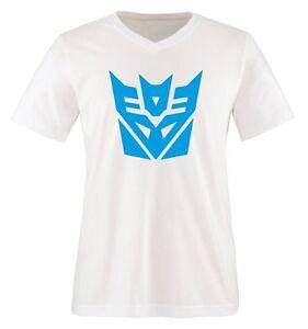 Decepticon-Transformers-Einfarbig-Herren-V-Neck-T-Shirt-Gr-S-bis-XXL-Di