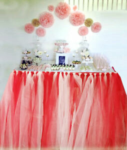 Handmade Table TuTu Skirt Table Cover For Dinner Parties Table Decoration RED