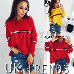 UK-Womens-Striped-Baggy-Oversized-Jumper-Pullover-Top-Sweater-Sweatshirt-Ladies