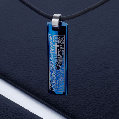 Men/'s Unisex Stainless Steel Pendant Necklace Blue Our Fathers Spanish L64