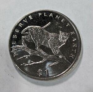 2001 $1 Sierra Leone Big 5 Rhinoceros Crown Size Animal Coin in Capsule UNC