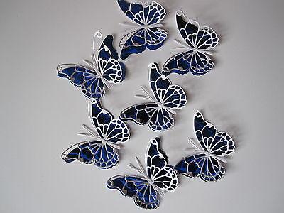12 Medium 3d Die Cut Butterfly Toppers In Blue Mirri /white Blijf Je Altijd Fit