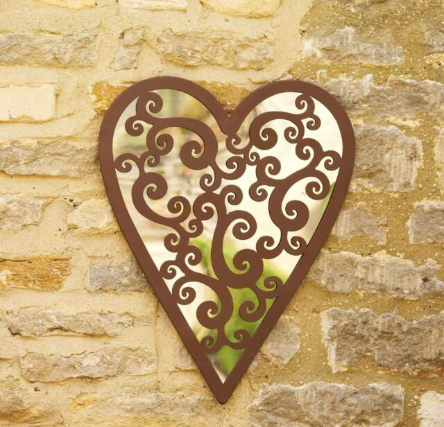 Garden Mirror Heart of Hearts With Rustic Frame By Smart Garden