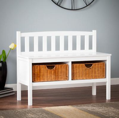 New Modern Luxury White Bench W Under