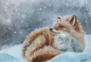 Print-of-Original-oil-painting-art-flowers-fox-in-snow-impressionism-shabby-chic